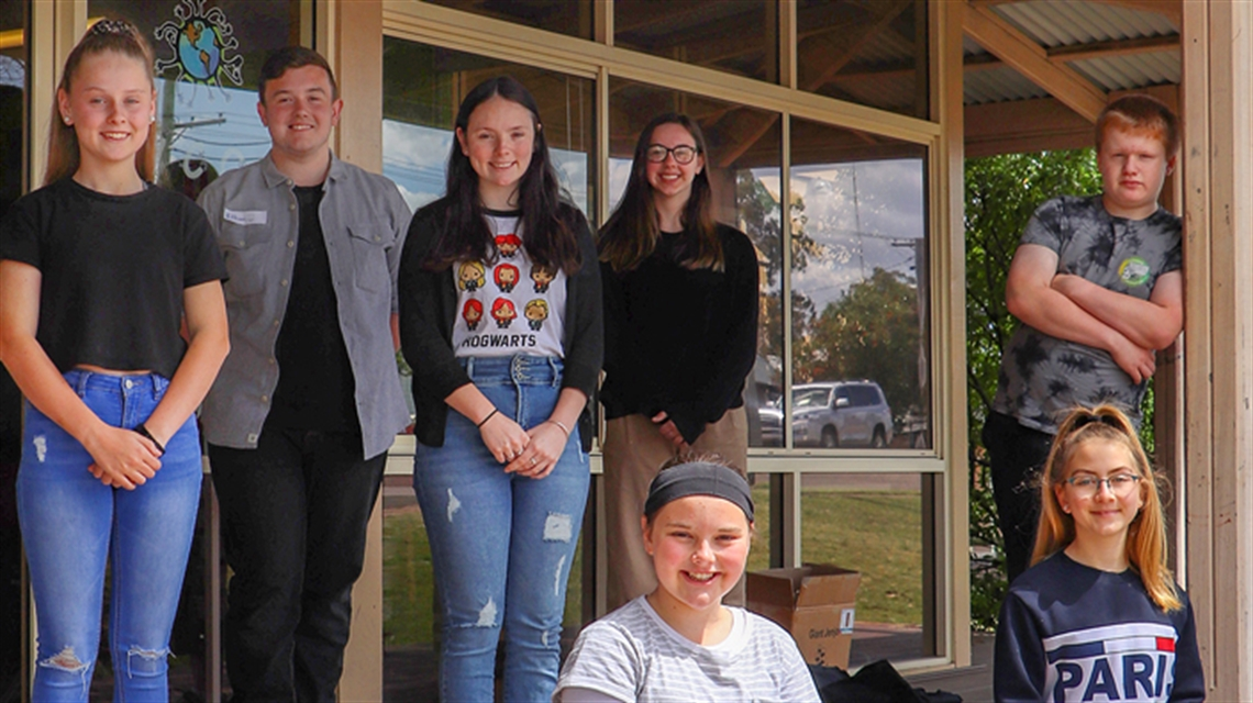Youth Engagement Strategy ambassadors. L to R back row: Chloe Ford, Ethan Floyd, Siara Nash, Jordan Flint and Bailey Whitcombe. L to R front row: Abigail Glover and Isabella Metcalfe.