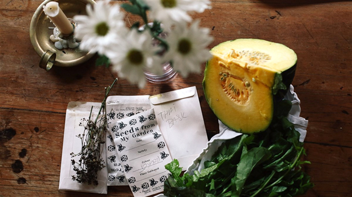 Photo of candle, pumpkin, spinach, daisies and packets of seeds on a table