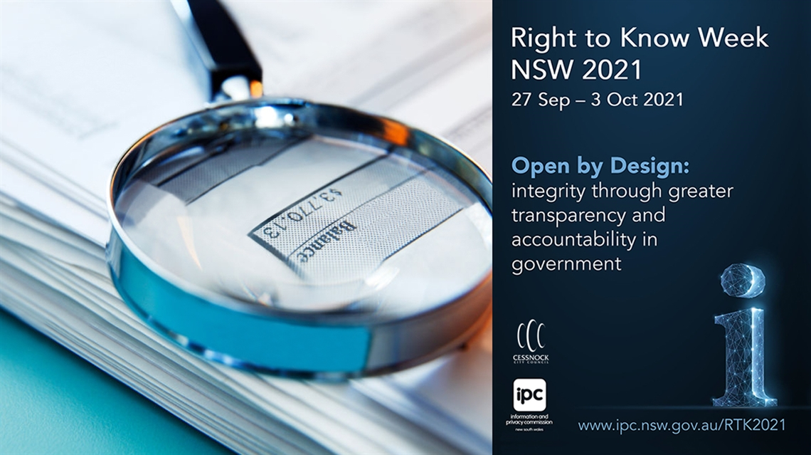 Photo of magnifying glass on top of a balance sheet with Right to Know branding on the right hand side